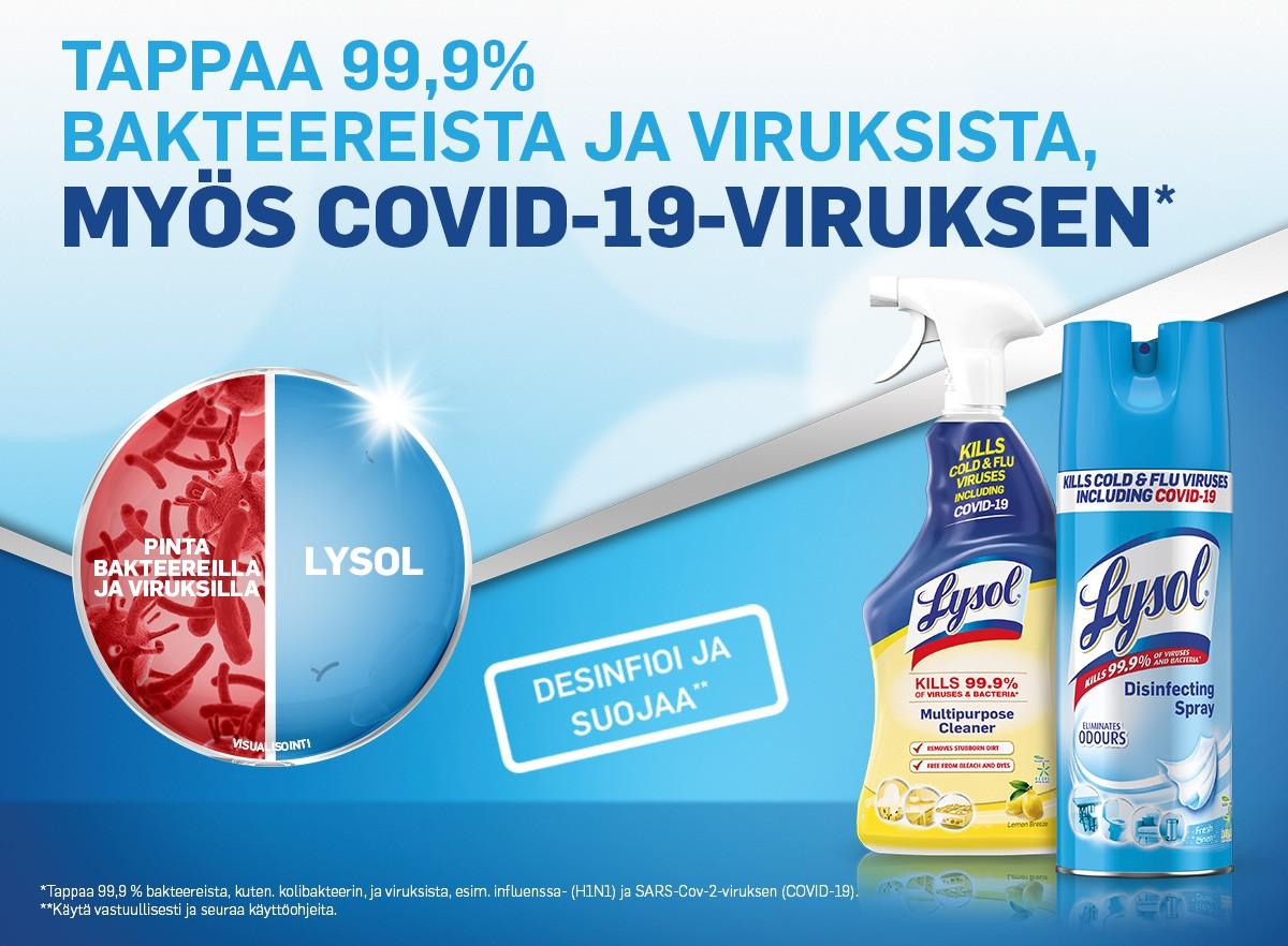 Tappaa 99,9 % bakteereista ja viruksista, myös COVID-19-viruksen